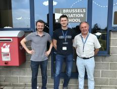 Oleksandr, private pilot since 24 May 2018, with Cedric and his PPL examiner Luc